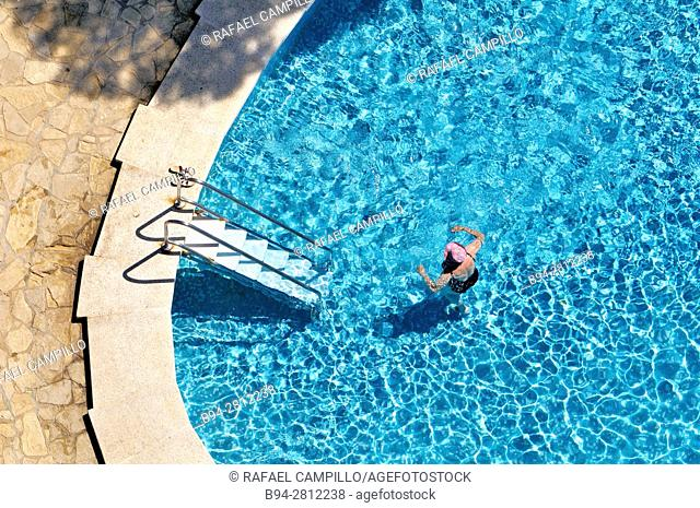 Swimming pool. Calonge municipality in the comarca of the Baix Empordà in Catalonia, Spain, on the coastline of the Costa Brava. Spain