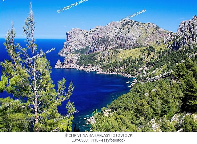 Walking path nature landscape sea view in Tramuntana mountains between Soller and Cala Tuent, Mallorca, Spain