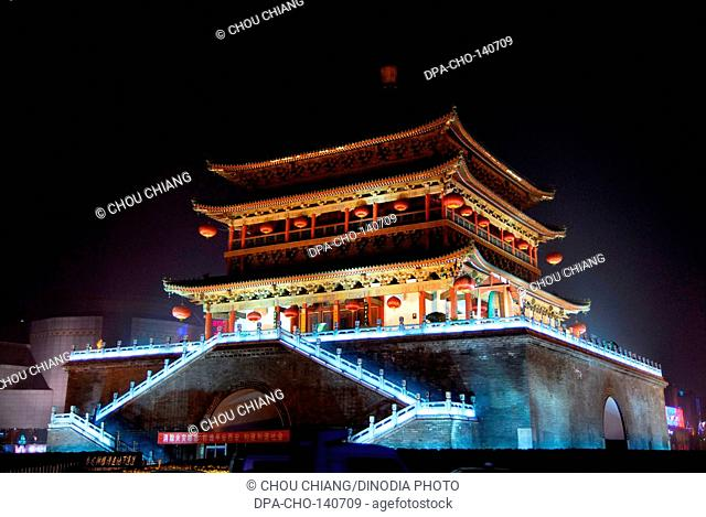 The 118 feet high wooden tower built in Ming Dynasty ; Xian ; China