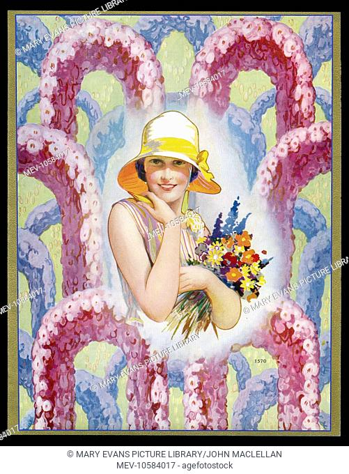 Chocolate box design, featuring a lady in a hat, holding a bunch of flowers, with arches of pink and blue flowers in the background