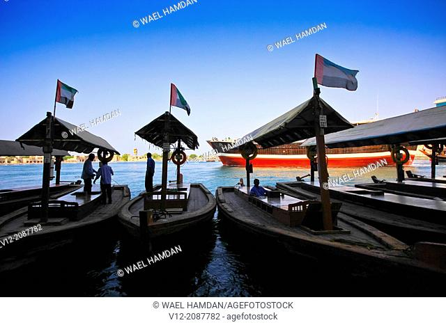 Traditional water taxi, Abra, Dubia Creek, district of Deira, Dubai, Emirate.Persian Gulf