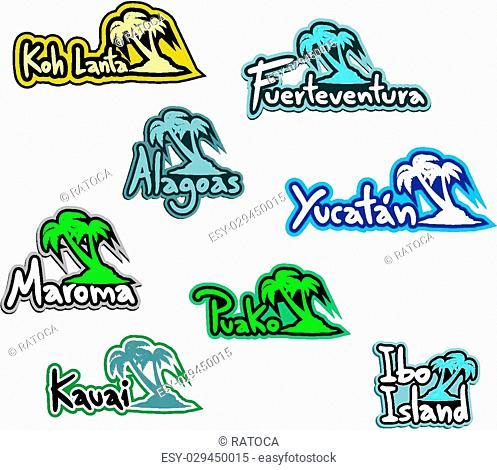 Creative design of Icons beach