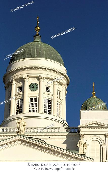 St. Nicholas cathedral dome. Evangelical Lutheran cathedral of the Diocese of Helsinki, located in the centre of Helsinki, Finland