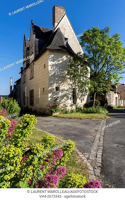 Notable's House known as Gaby House at Crissay-sur-Manse, Labeled The Most Beautiful Villages of France. Indre-et-Loire, Centre region, Loire valley, France