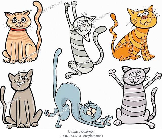funny cats set cartoon illustration