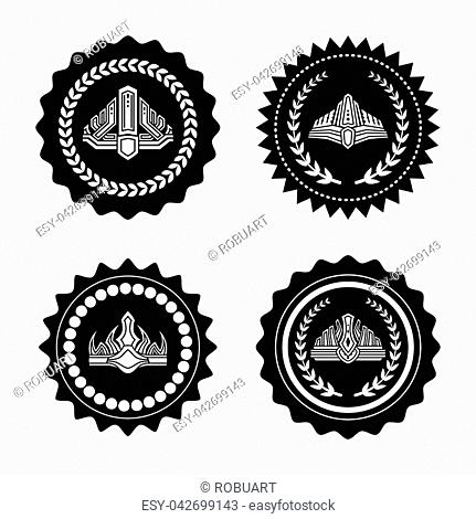 Crowns on seals with laurel wreaths and wavy edges. Warranty sign with king hat black and white set. Royal approval signs vector illustrations