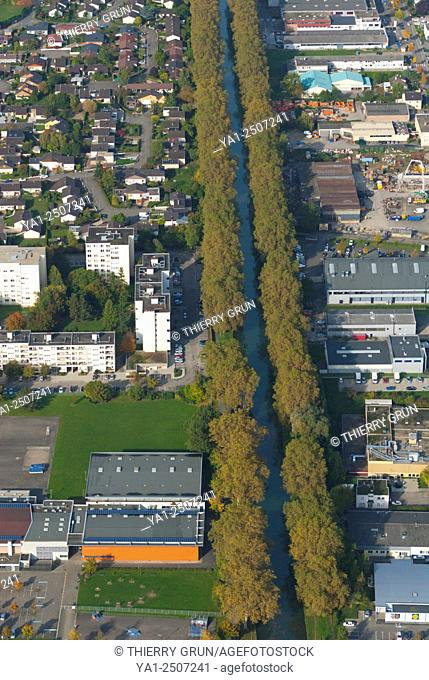 France, Bas Rhin 67, Strasbourg town, Illkirch-Graffenstaden area, water canal from Rhone to Rhine river aerial view