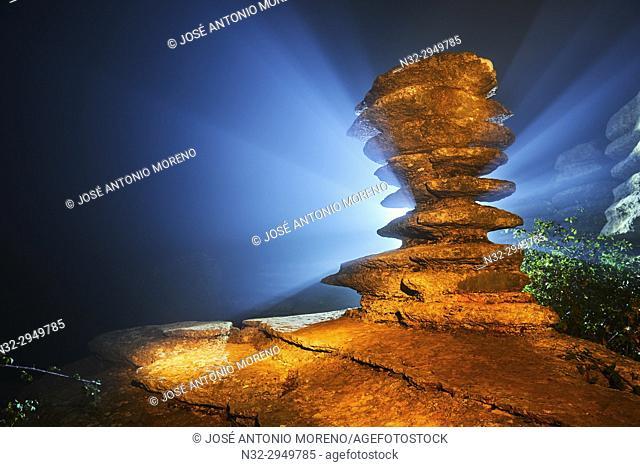 The Screw, El Tornillo, Natural Monunment, Fog, Night, Torcal de Antequera, Erosion working on Jurassic limestones, Malaga province, Antequera