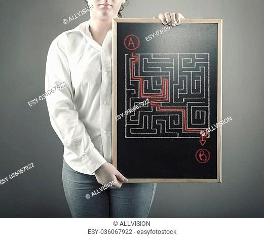 The young girl is considering how to shorten the path through the maze