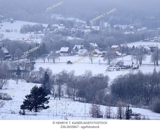 Winter in Wysowa Zdroj village, Poland