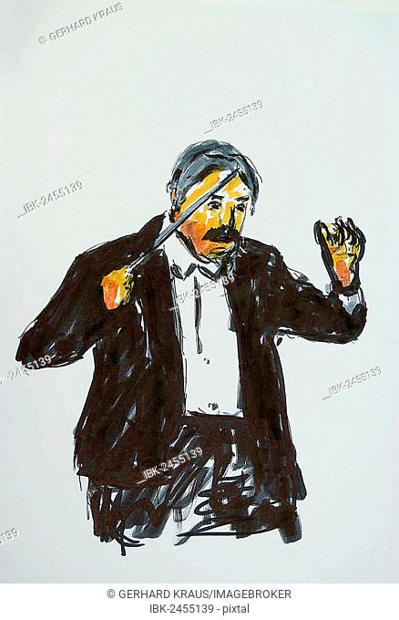Conductor, illustration, Gerhard Kraus Kriftel, Germany