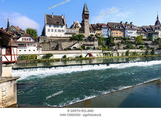 Bremgarten, Switzerland, Europe, canton, Aargau, provincial town, river, flow, Reuss