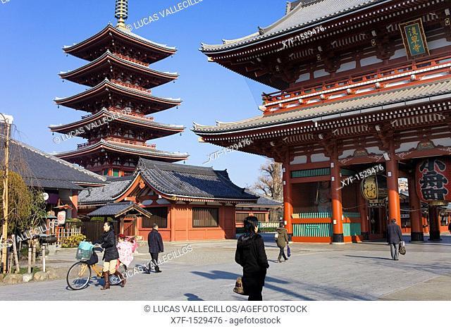 Senso-ji Temple,Five Storied Pagoda and Hozo-mon Gate,Asakusa district,Tokyo, Japan, Asia