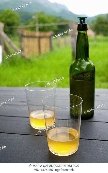 Cider for two. Asturias, Spain