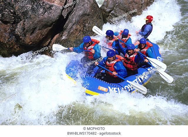 rafting on Gallatin River, USA, Montana