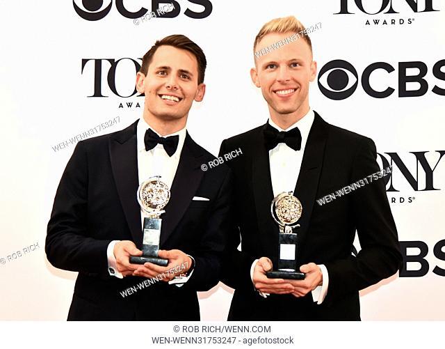 71st Annual Tony Awards - Press Room Featuring: Benj Pasek, Justin Paul Where: Manhattan, New York, United States When: 11 Jun 2017 Credit: Rob Rich/WENN