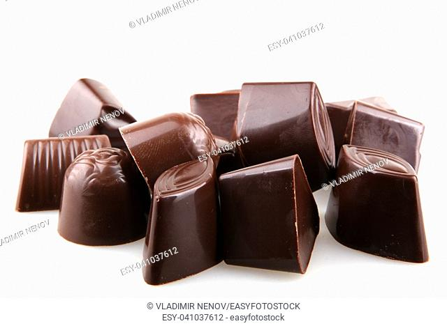 Sweet chocolates isolated on white background