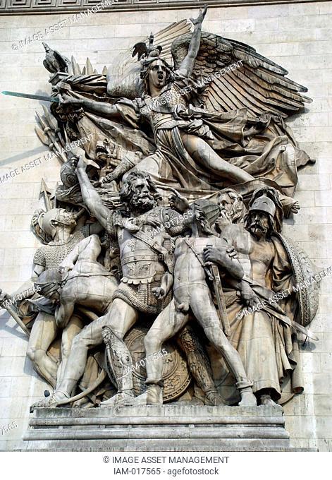 Le Départ de 1792 (La Marseillaise) is one of the four main sculptures of the monument are The Arc de Triomphe is a monument in Paris