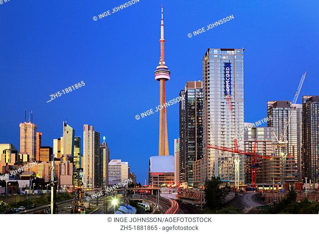 Downtown Toronto skyline, including CN Tower and Rogers Center, as seen in the early evening