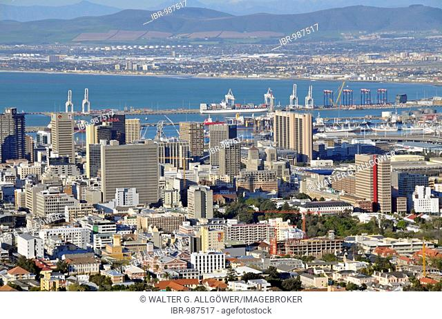 View from Signal Hill to Cape Towns modern city center, South Africa, Africa