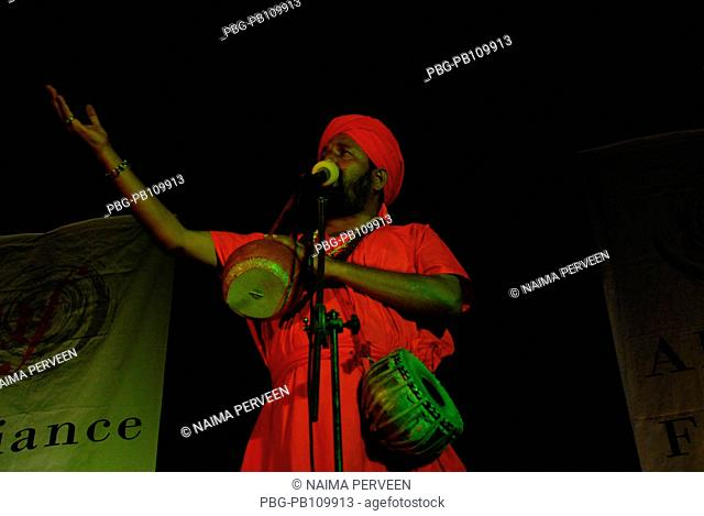 Kiron Chandra Roy, a baul singer performs Chittagong, Bangladesh June 2009