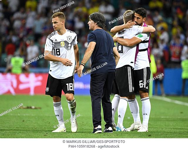 Bundescoach Joachim Jogi Loew (Germany) / r is looking forward to end game with Joshua Kimmich (Germany), Toni Kroos (Germany) and Sami Khedira (Germany) / left...