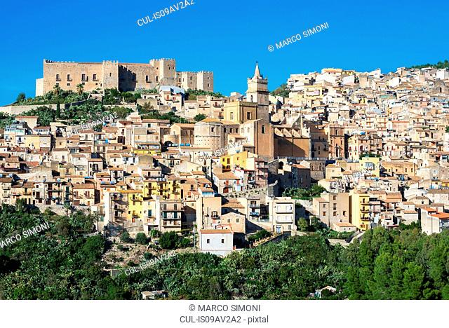 Elevated view of Caccamo castle and village, Caccamo, Sicily, Italy