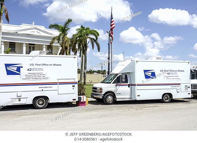 Florida, Everglades City, after Hurricane Irma, storm disaster recovery assistance, Post Office on Wheels, trucks, temporary, mobile