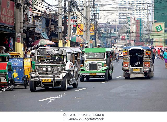 Jeepneys, popular transportation in Manila, Luzon, Philippines