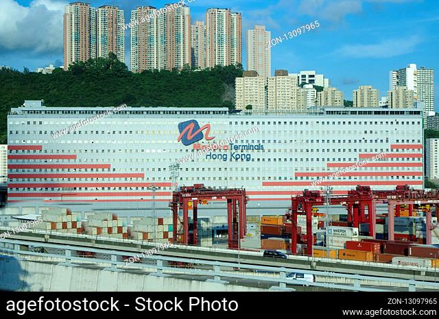 Containers at Hong Kong commercial port on HONG KONG -Aug 1 2018 China. One of the largest container hubs in the world
