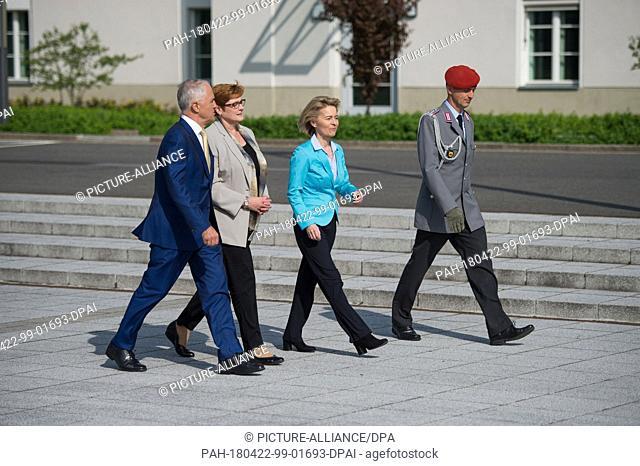 22 April, Germany, Berlin: German Defence Minister, Ursula von der Leyen (2-R) of the Christian Democratic Union (CDU) welcomes Australia's Prime Minister...