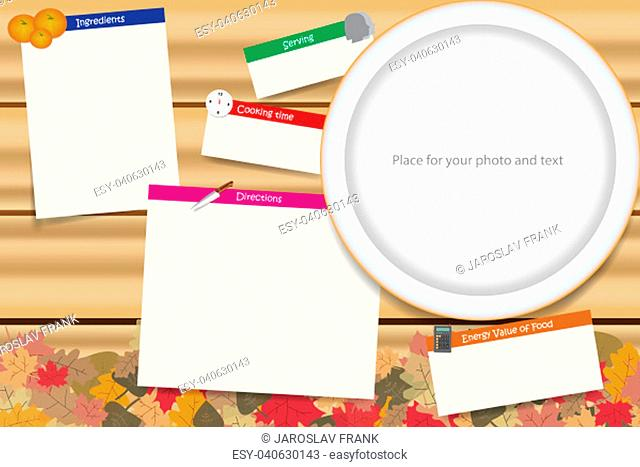 Traditional cooking board vector ready for your text. Cooking board is in the autumn leaves design