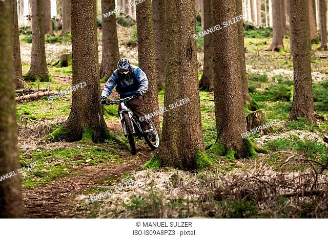 Young male on mountain bike riding through forest