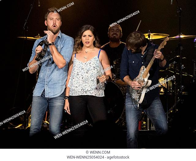 Lady Antebellum performing at Scotiabank Saddledome in Calgary Featuring: Hillary Scott, Charles Kelly, Dave Haywood Where: Calgary