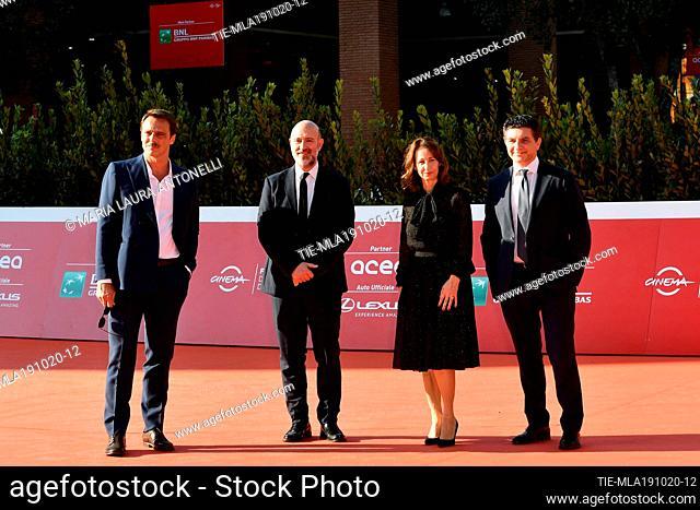 The director Alessandro Preziosi, Tommaso Mattei, Maria Pia Ammirati during the red carpet of film 'La legge del terremoto' at the 15th Rome Film Festival, Rome