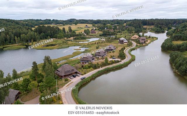 Amatciems lake Aerial drone top view Latvia