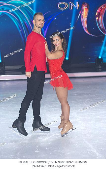 Eric STEHFEST, actor, with his figure skating partner Amani FANCY, presentation of the candidates of the SAT.1 television show DANCING ON ICE