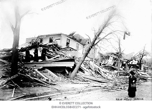 Omaha, 25th Street, and Cass, after cyclone, Nebraska, circa 1900