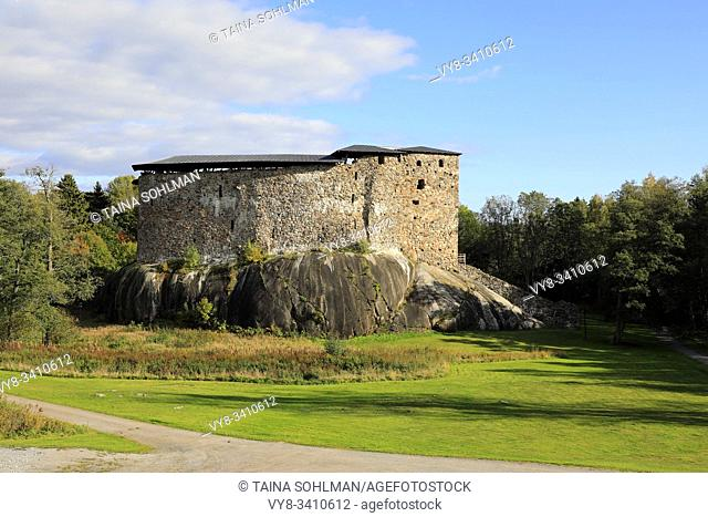 Medieval Raseborg Castle Ruins in autumn. Raseborg Castle was built in 1370s on a rock that was surrounded by water at the time. Snappertuna, Finland
