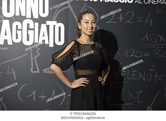 The italian blogger and journalist Tess Masazza at the photocall of the film Tonno Spiaggiato, directed by Matteo Martinez with Frank Matano at the Cinema Anteo
