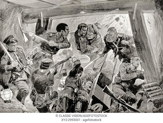 A hand-to-hand struggle in the earthworks during the siege of Port Arthur, 1904/1905. From Hutchinson's History of the Nations, published 1915