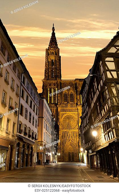 Notre Dame de Strasbourg and beautiful sunrise, France