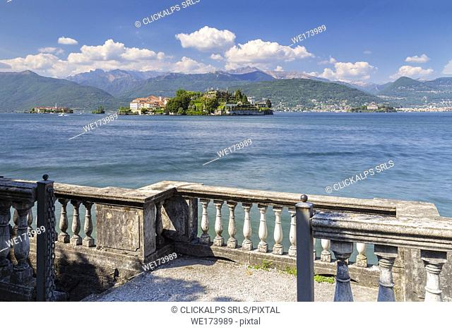 View of the Borromean Islands, Isola dei Pescatori, Isola Bella and Isola Madre from a balcony on the lake front of Stresa in a spring day