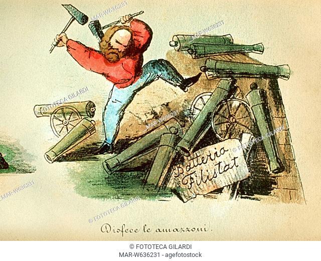 Caricature Series: The Seven Labors of Hercules / Giuseppe Garibaldi. Colour lithograph 1860âCopyright © Fototeca Gilardi