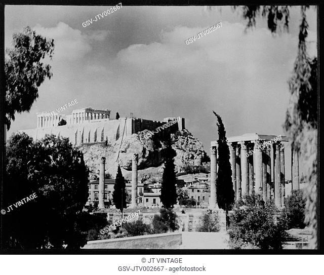 Acropolis with Parthenon, Athens, Greece, 1956