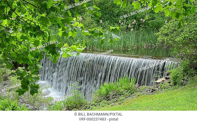 waterfall flowing with clean rushing water in Weston, Vermont