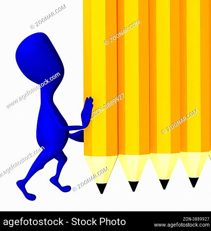 Blue 3d puppet hold yellow wall from pencils