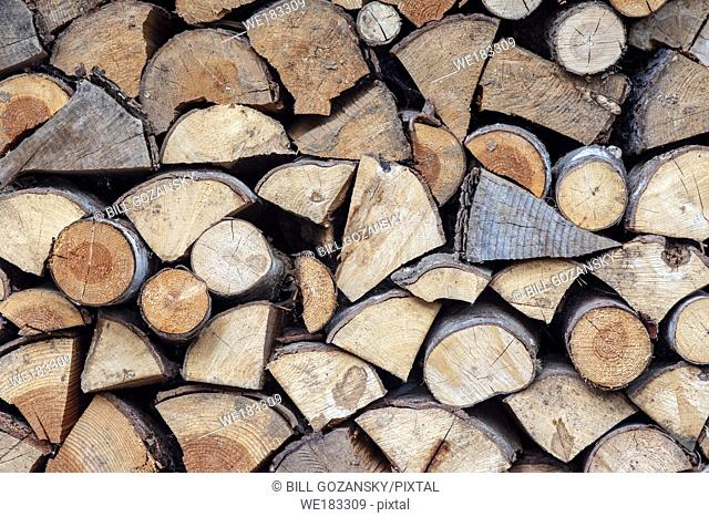Close-up of a stack of Firewood - Strathcona Park Lodge in Strathcona Provincial Park, near Campbell River, Vancouver Island, British Columiba, Canada