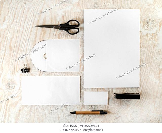 Photo of blank stationery set on light wooden background. Mockup for branding identity