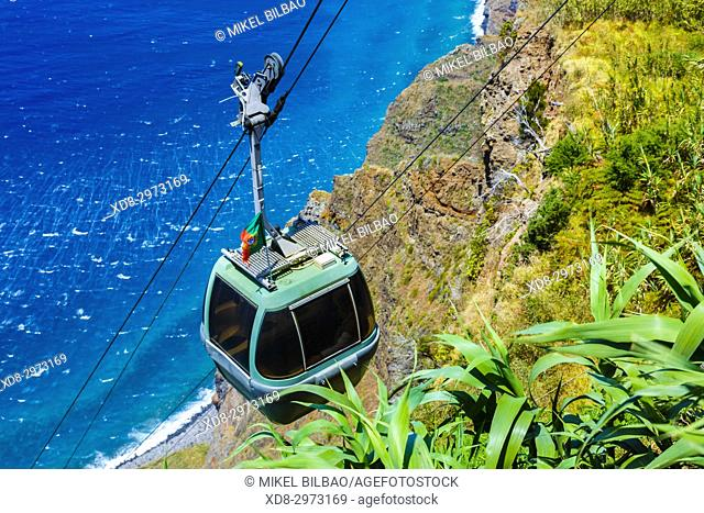 Achadas da Cruz cable railway. Porto Moniz. Madeira, Portugal, Europe